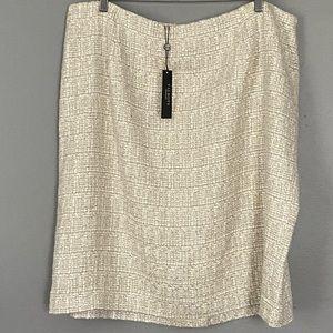 New Talbots Woman Beige Tweed Pencil Skirt NWT 20W